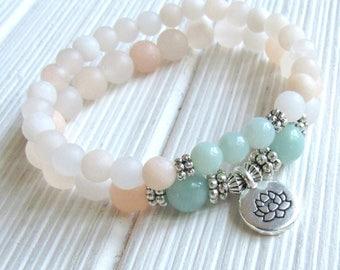 Anti Anxiety, bracelet set of 2, Yoga stack, Yoga bracelets, bracelet set, Reiki Charged, stacking malas, yoga stack, Amazonite, aventurine