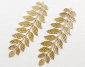 Brass Laurel Leaf, Raw Brass Leaf Stamping, Hair comb Supply, Embellishment, 89mm x 33mm - 2 pcs. (r319)