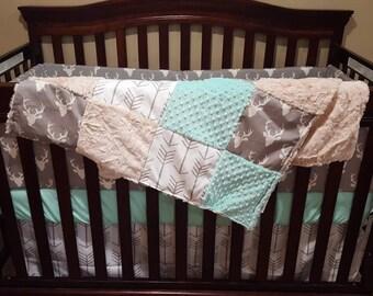 Baby Crib Bedding - Gray Buck, White Tan Arrows, Ivory Crushed Minky, and Mint Minky Crib Baby Bedding Ensemble