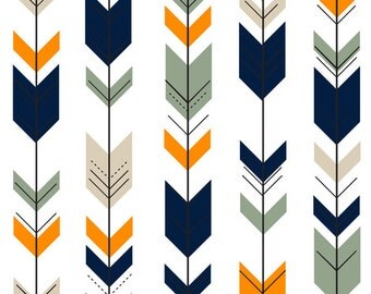 Fletching Arrows Contour Changing Pad Cover - Tribal, Baby, Western, Orange, Green, Navy, Tan