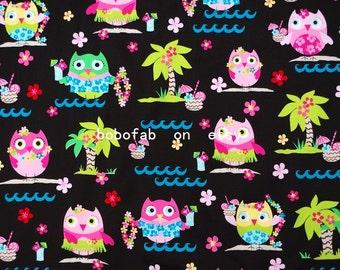 "2336  - 1 yard Cotton Sateen fabric - Owl,tree and flower (145cmx91.44cm,57""x36"")"