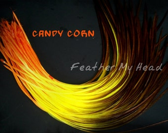 "Feather Hair Extensions - Multi Color Medium Length 7"" - 9"" (18-23cm) Long - 5 Pc - Orange Yellow Brown - Candy Corn"