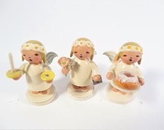 Vintage Christmas Snowflake Marguerite Angels - Set 3 Erzgebirge German Democratic Republic Angels