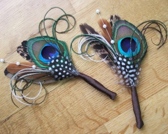 """PAIR (set of 2) Pheasant Peacock Feathers Pearl Beads """"Alfie"""" Wedding Boutonnieres - Woodland Rustic Wedding Theme Groom Best Man Lapel Pin"""