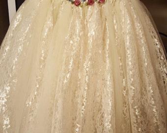 Cream Color Lace and Tulle Tutu