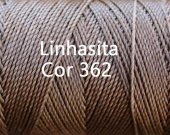 Linhasita Caramel Brown cor 362 - Waxed Polyester Macrame Cord/ Hilo/ Spool/ String