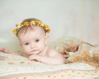 Quick Ship: RTS Sunshine Yellows n Golds Berries floral headwreath head halo for newborns head wreath head halo headband oranges RTShip