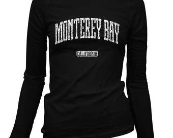 Women's Monterey Bay California Long Sleeve Tee - S M L XL 2x - Ladies' T-shirt, Gift For Her, Monterey Bay Shirt, Surfing, Surfer, Tourism