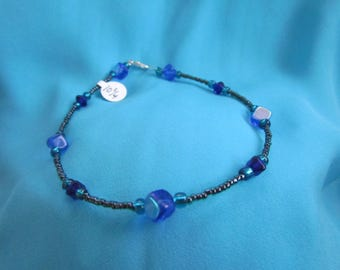 Rich Cobalt, Sapphire Blue, Black Lined Emerald, Silver Lined Bermuda and Teal Glass Bead Anklet