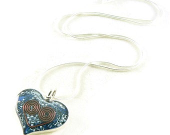 Orgone Energy Small Heart Pendant in Sterling Silver with Lapis Lazuli - Valentine Heart - Orgone Energy Jewelry - Artisan Jewelry