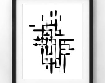 Downloadable Art, Ink Drawing, Home Decor, Minimalist Japanese Style, Modern Art, Black and White, Printable Download