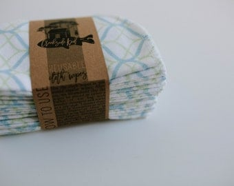 Cloth Diaper Wipes - Family Cloth - Soft  Baby Wipes Cloth Wipes Set of 20 Baby Wipes - Reusable Flannel Wipes (Green and Blue)