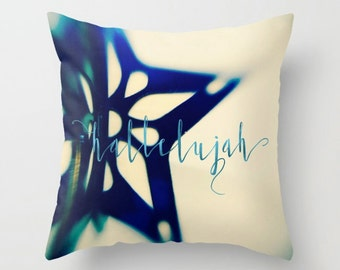Hallelujah Festive Accent Pillow, Blue Christmas Ornament Pillow, Holiday Accent Cushion - 2 sizes available