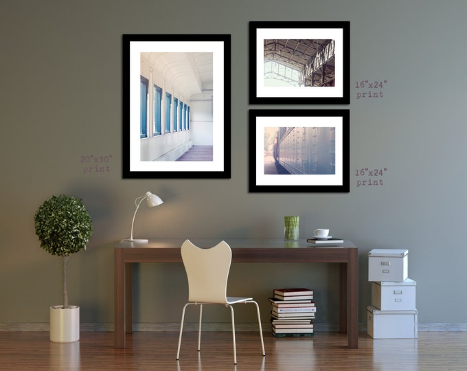 Romantic Photo Set, Train Travel Tryptic, Set of Photographic Prints, Set of 3 Prints - 4 sizes available