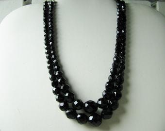 Vtg 2 strand black glass beads by Laguna