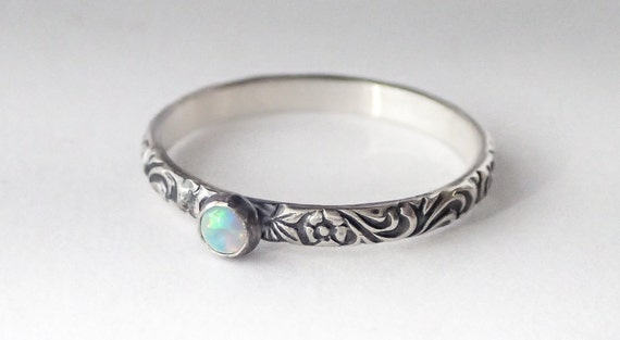 weisser opal ring sterling silber blumenmuster band mit 3mm. Black Bedroom Furniture Sets. Home Design Ideas