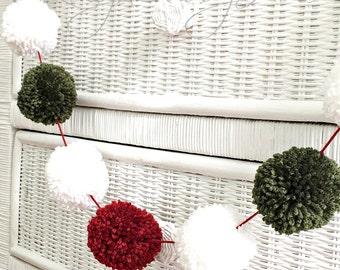 Red White Green Yarn Pom Pom Garland Christmas Pom Poms Garland Decor Photo Prop Party  Holiday Celebration Bunting