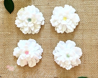 White Felt Flowers - Handmade Frilly Felt Flower Pin - Fashion Accessory - Craft Supplies - Felt Flower DIY -