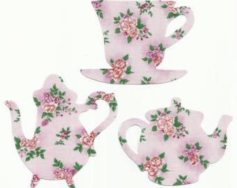 Pink Floral Teacup and Teapots Set Fabric Iron On Appliques