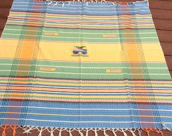 Vintage Table Linen / Table Cover / Table Cloth / Aztec Design / Tablecloth