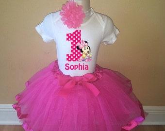 Birthday Mouse Birthday Pink Personalized Shirt Tutu Headband Set - ANY AGE