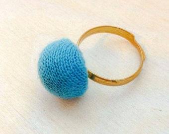 Ring Boho retro vintage wolle blau Recycling-fashion