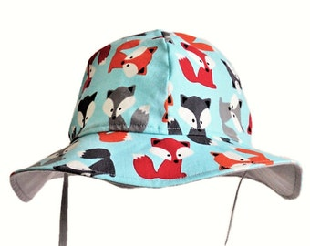 Baby Boy Sun Hat, Fox Baby Hat, Summer Hat, Toddler Sunhat, Childs Hat, Cotton Beach Hat, Wide Brim Floppy Hat, Baby Clothes, Made To Order