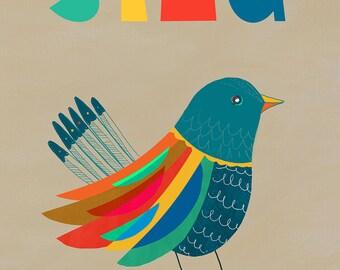 SING. Retro Scandinavian Style Print. A3