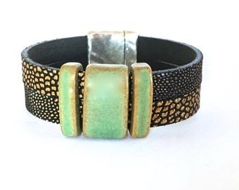 Rustic Cuff Bracelet - Leather Bracelet - Boho Bead Bracelet - Wide Leather Cuff  - Bracelet for Men - Unique Jewelry - Leather Gifts