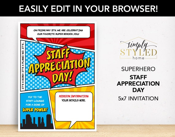 EDITABLE Staff Appreciation DAY Superhero Invitation