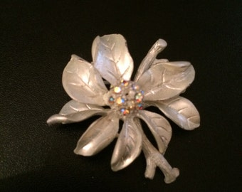 Icy flower with stem brooch