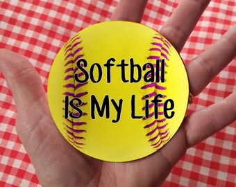 "Stickers ~ Giant 3.5"" Yellow Softball w/ Pink Thread Stickers, Softball Team Party, Sports Themed Stickers, Kids' Stickers, Print Anything!"