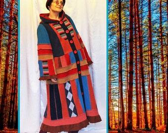 In stock Wool  Coat Patchwork Boho Bohemian Hippie Gypsy Patchwork Coat  Plus size