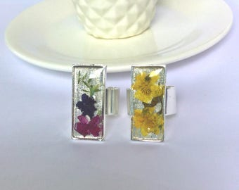 Silver Real Flower Ring, Large Rectangle Pressed Flower Resin Ring, Floral Statement Ring, Purple/Pink Flower Ring, Yellow Flower Ring