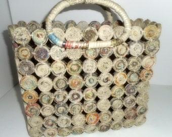 CLEARANCE, Handmade Bag, Tote, Market Basket, Knitting Bag,Magazine Bag