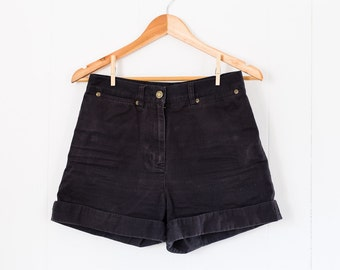 Upcycled vintage high waisted shorts / black / indie / summer / size 4 / cotton