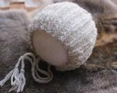 newborn bonnet hat,newborn photography prop, lux fibers oatmeal bonnet knitted baby boy girl bonnet hat, newborn photo prop