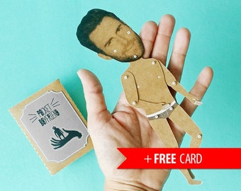 Pocket Boyfriend personalized articulated paper doll handmade greeting card custom funny girlfriend gift birthday customized sexy celebrity