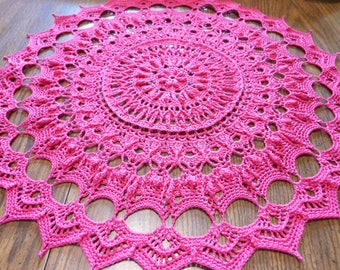 Magenta/pink/shade of red highly textured crochet lace thread doily