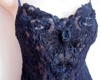 Vintage camisole cami slip black stretch lace  sexy  lingerie   M