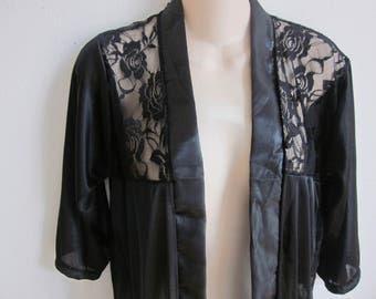 SALE Short robe black lace open front top shirt teddie S M