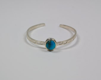 Turquoise Cuff Bracelet - Hand Stamped Sterling Silver and Turquoise Cuff - Bohemian Style Cuff Bracelet
