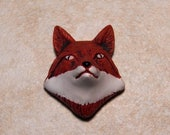 Sale 29X25mm Red Fox Head Ceramic Handcrafted Animal Pendant - Bead, 1 PC (INDOC599)