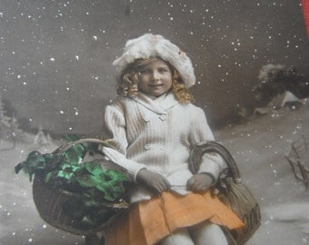 Antique French Christmas - New Year Photo Postcard - Bonne Annee - Girl on Sled