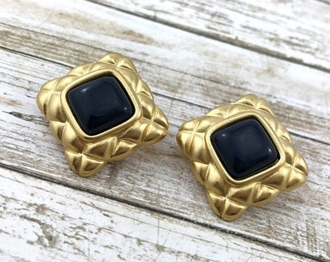 50% OFF Vintage Vendome Earrings, Russian Gold Plated Earrings, 1980s. Quilted Square Earrings. Large Gold tone 80s Earrings.