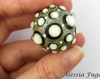 "Handmade focal lampwork glass bead in ivory and lagoon, ""Fenice"" series"