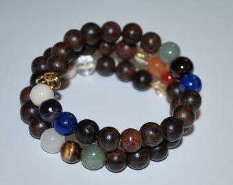 Wood Bead and Healing Crystal Bracelet, Meditation Bracelet, Wood Bead Bracelet, Multi-Healing Stone Bracelet, Unisex Bracelet