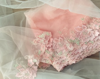 2 yards pink embroidery lace trim. delicate embroidery lace trim