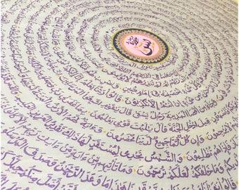 ISLAMIC ART: 'Heart of Qur'an' Surah Ya'sin Round Canvas