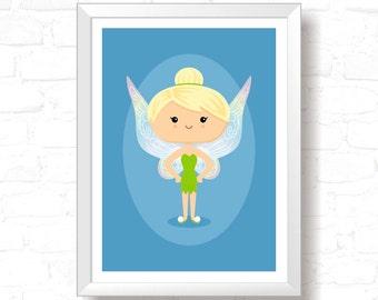 Green Fairy - Printable Original Illustration, Instant Download, Home Decor, Wall Art, T-shirt graphic, Art Print, Poster Design